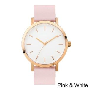 Accessories - Women's pink and white leather quartz watch